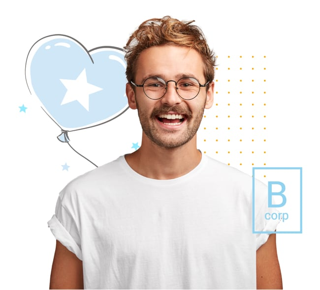 A happy man with the B-corp logo